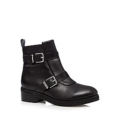 Faith - Black leather two buckle mid ankle boots