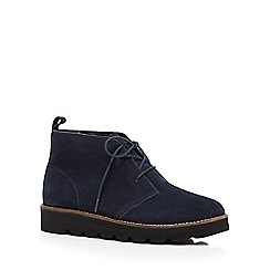 Faith - Navy suede lace up ankle boots