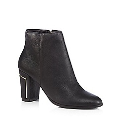 Faith - Black leather high heeled ankle boots