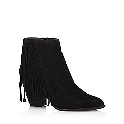Faith - Black suede fringed ankle boots