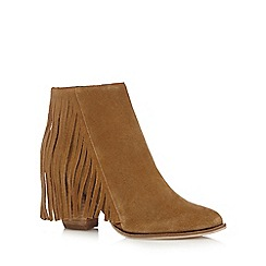 Faith - Tan suede fringed ankle boots