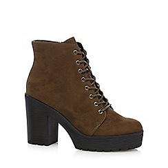 Faith - Khaki laced high platform ankle boots
