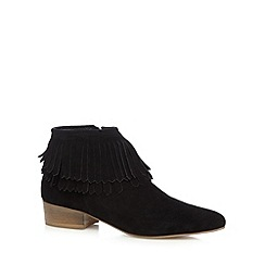Faith - Black suede fringed low boots