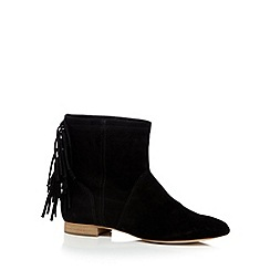 Faith - Black suede fringe detail ankle boots