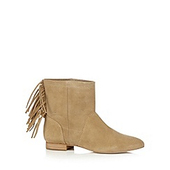 Faith - Taupe suede fringe detail ankle boots