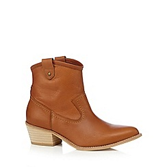 Faith - Tan leather mid heeled ankle boots