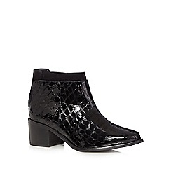 Faith - Black patent reptile mid heeled ankle boots