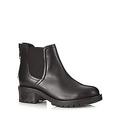 Faith - Black leather mid heeled Chelsea boots