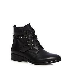 Faith - Black leather studded ankle boots