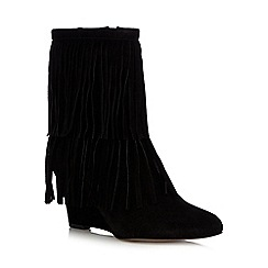 Faith - Black suede high heeled wedge boots