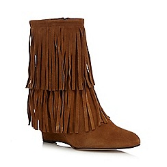 Faith - Tan suede high heeled wedge boots