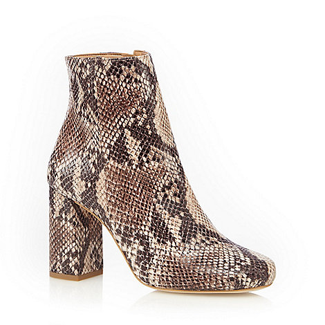 Faith - Natural snakeskin effect high ankle boots