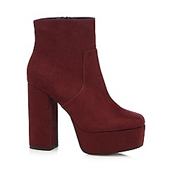 Faith - Dark red suedette high platform ankle boots
