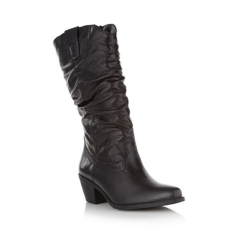 Faith - Black brazilian leather cowboy boots