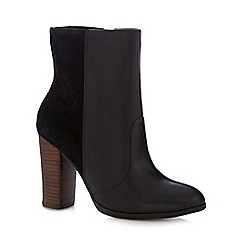 Faith - Black mixed leather high heeled ankle boots