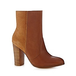 Faith - Tan mixed leather high heeled ankle boots