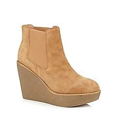Faith - Tan 'Stilo' suede high Chelsea boots