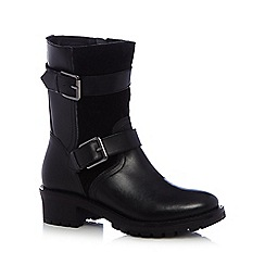 Faith - Black leather buckle mid boots
