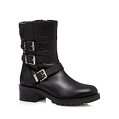 Faith - Black leather zip trim mid heeled calf boots