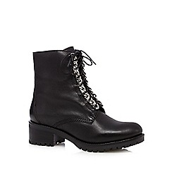Faith - Black leather chain detail lace up mid boots