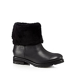 Faith - Black leather faux fur cuff ankle boots