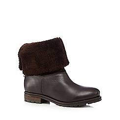 Faith - Brown leather faux fur cuff ankle boots