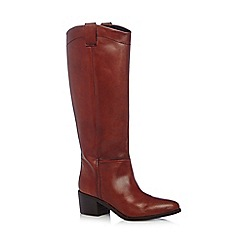 Faith - Dark tan leather high leg boots