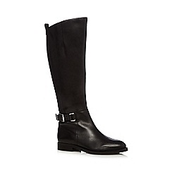 Faith - Black leather buckled mid heeled knee high boots