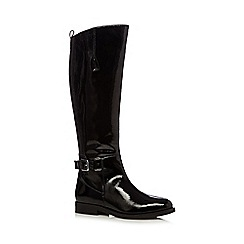 Faith - Black patent leather buckled mid heeled knee high boots