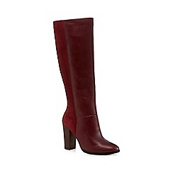 Faith - Dark red suede knee-high boots