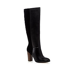 Faith - Black mixed leather high heeled boots