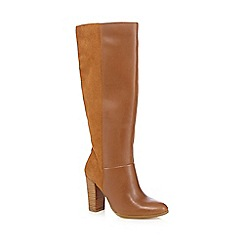Faith - Tan suede high heel knee leg boots