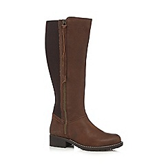 Faith - Brown leather high leg boots