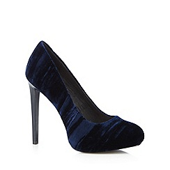 Faith - Navy velvet high heeled court shoes