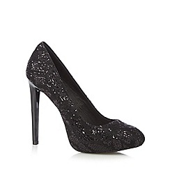 Faith - Black glittery lace high heeled court shoes