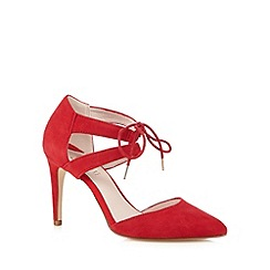 Faith - Red suede laced high court shoes