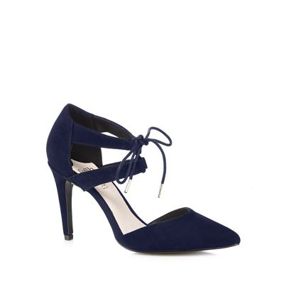 Faith Navy suede laced high heeled court shoes