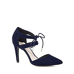 Faith - Navy suede laced high heeled court shoes