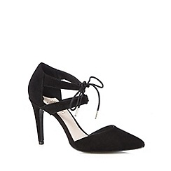 Faith - Black suede laced high court shoes
