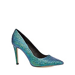Faith - Blue metallic textured high court shoes