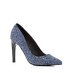 Faith - Blue glittery high stiletto court shoes