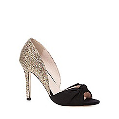 Faith - Gold knotted glitter heel court shoes