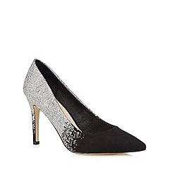 Faith - Black sparkle pointed high court shoes