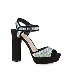Faith - Black glitter coloured block high sandals