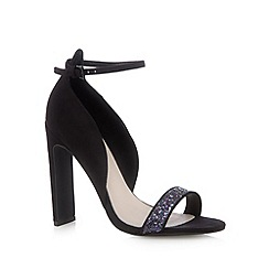 Faith - Black glitter strappy sandals
