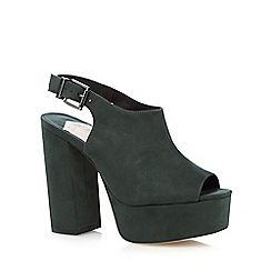 Faith - Dark green slingback high platform court shoes