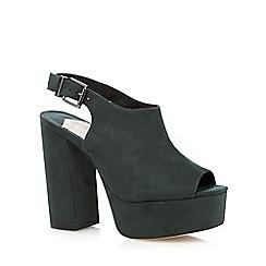Faith - Dark green slingback high platform court shoes