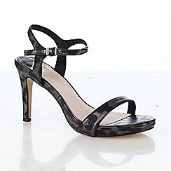 Faith - Black leopard print high heeled sandals
