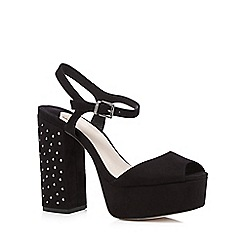 Faith - Black studded high heeled court shoes