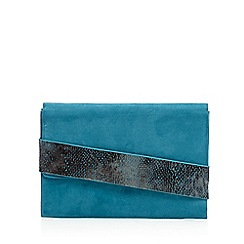 Faith - Turquoise suedette asymmetric envelope clutch bag